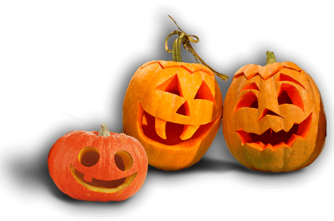 Group of hand carved pumpkins